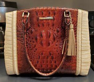 Brahmin PECAN SORIANO ALICE CARRYALL satchel TOTE sunglow pharoah lizard purse
