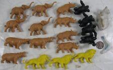 Lot Vintage 1960's Plastic Wild Animal Set Rhino Elephant