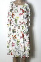 KOTON Kleid Gr. 36 creme-weiß knielang Sommer Kleid mit bunten Blumen