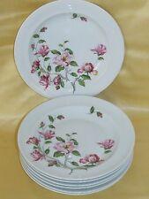 Série de six belles assiettes creuses porcelaine Limoges décor branche de fleurs