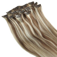 CLIP IN REAL HUMAN HAIR EXTENSIONS #8/613 brown mix BLONDE 20 INCH 80G 7pcs