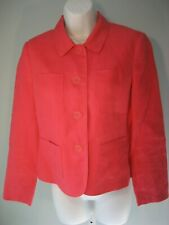 Talbots Petites Blazer Irish Linen Sz 6 Coral/Pink Lined Long Sleeves Pockets EC