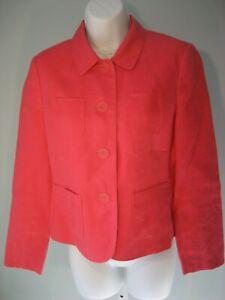 Talbots Petites Blazer Irish Linen Sz 6 Coral/Pink Lined Long Sleeves Pockets EC