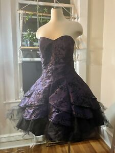 Vtg Masquerade  Satin Sequins Tulle Prom Party Mini Dress XL Plus   Dallas Fans
