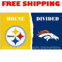 Pittsburgh Steelers vs Denver Broncos House Divided Flag Banner 3x5 ft 2019 NEW