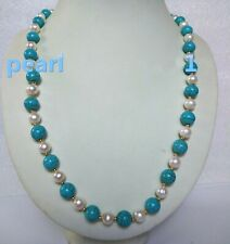 "20"" turquoise AAA SOUTH SEA NATURAL White PEARL NECKLACE 14K GOLD CLASP"