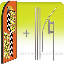Feather Flutter Swooper Banner Sign Flag 15' Kit - Oil Change CAMBIO DE ACEIT rq