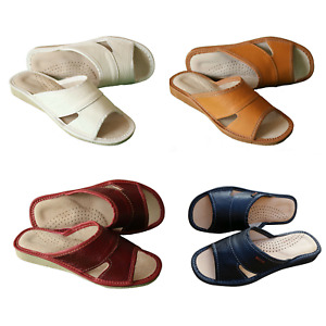 Women's Leather Slippers 100% Natural Mules Slip On Open Sandals Slides Size 3-8