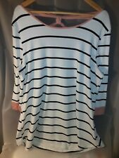 Vision Woman Nautical 3/4 Sleeve Tunic Top Plus Size 2X Pink Sleeve Bow Back