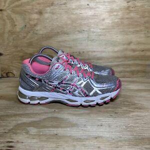 ASICS Gel Kayano 21 Running Shoes, Women's size 9.5, Silver/Pink/Gray