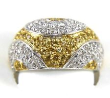 Fancy Yellow Sapphire & Diamond Cluster Dome Ring Band 18K White Gold 2.26Ct