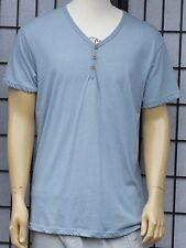 Cotton On Mens Solid Light Blue Other Henley XL