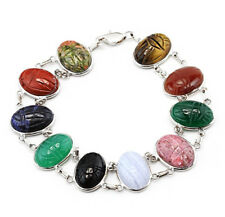 14K White Gold Scarab Double Link Bracelet With Oval Gemstones 8 Inches