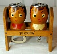 Vintage Wood Salt and Pepper Shakers with Cork Screw / Bottle Opener and Caddy