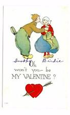 Vintage Oh won't you be my Valentine? used postcard 1913?  unposted