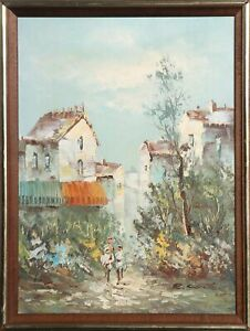 Unknown Artist, Mother and Daughter Walkng through European Village, Oil on Canv