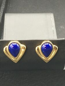 """Avon Jewelry, Pierced earrings gold tone with blue """"stone"""" NOS  E-41"""