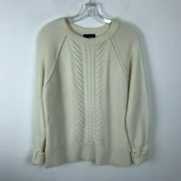 J.Crew Sweater Womens Size M L Ivory Cable Knit Fishermens Wool Pullover