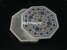 "6""x6""x2'' White Marble Jewelry Box Lapis Art Inlay Beautiful Bedroom Decor H4063"