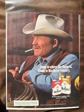 1985 Print Ad Marlboro Man Cigarettes Western Cowboy with White Hat