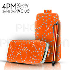 BLING LEATHER PULL TAB CASE COVER POUCH & STYLUS FITS VARIOUS SAMSUNG MOBILES