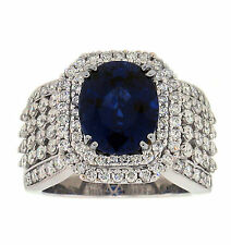 6.68ct SAPPHIRE DIAMOND RIGHT HAND RING 18K WHITE GOLD