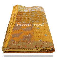 Large Kantha Patchwork Bedspread Throw Cotton Blanket Handmade Bedding Quilts