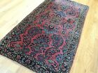 2x4  small Sarough Antique Rug wool Navy Red Blue Lovely
