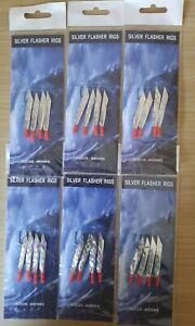 Mackerel silver flasher rigs feathers sea fishing 6 Packs Lure. 4 hooks size 2/0