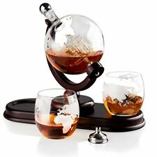 Globe Liquor Decanter Set with 2 Etched Whisky Glasses for Liquor Whiskey 850ml
