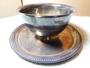Bowl~Towle Silver Plate Dip Bowl & Attached Plate F.P. #6669