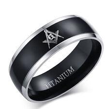 8MM Wide Stainless Steel Titanium Masonic Wedding Band Ring Women Man Size7-12