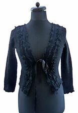 ARIA 100% Virgin Wool Black Lace Boho Boucle Knit Tie Goth Cardigan 10 12 38 40