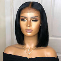 Best Real Pure Indian Human Hair Wigs Bob Style Lace Front Full Wig Middle Part