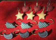 Stitched Hearts Stars Moons & Trees Shower Curtain Hooks Set Of 12