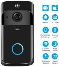 Black Smart Home Doorbell HD Camera WiFi Night Vision Video Intercom (Two-Way)