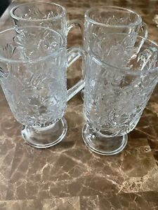 (4) Princess House FANTASIA Poinsettia Crystal Pedestal Glass Coffee Cups Mugs