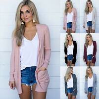 Women Knit Cardigan Long Sleeve Open Front Draped Sweater Loose Blouse Tunic Top