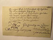 Marburg - 1814 - Stammbuch-Blatt - Gottlieb Hackländer - Corps Guestphalia I ?