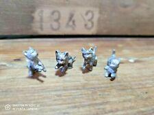 4 ancien chaton étain Chat cat ornement deco ART NOUVEAU statuette figurine