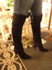 Black genuine suede spike heel lace up thigh high over the knee boots vtg sz 9