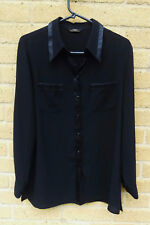 Women's Vintage Marks and Spencer Semi Sheer Shirt Size 10 Black 1990's