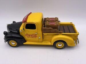 "1947 COCA-COLA DODGE PICKUP Truck BANK w/Crates Hand Cart 1:24 8"" Die-cast 1999"