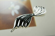 925 Sterling Silver Ribbed Ribbon Bow Tie Hairpin Women Hair Accessory