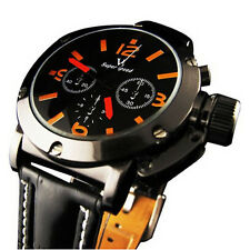 Sport Style Black Dial Leather Strap Men's Quartz Wrist Watch Orange Elegant