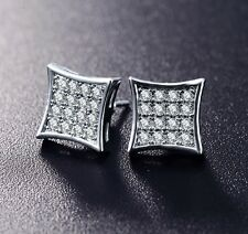 10mm Mens 18k White Gold Finish Real Silver Square Lab Diamond  Studs Earrings