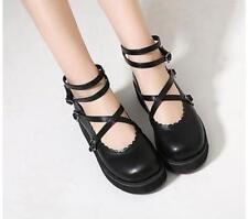 Women Round Toe Ankle Strap Wedge Spring Platform Lolita Sweet Bow Heels US 8