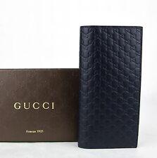 $625 Gucci Men's Blue Microguccissima Leather Wallet w/ ID window 449245 4009