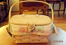 Longaberger 2002 Unstained Wood Covered Basket w/ Pastel Liner