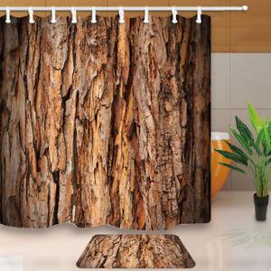 "Retro Tree Bark Pattern Bathroom Waterproof Fabric Shower Curtain & Hooks 71*71"""